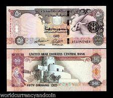 UNITED ARAB EMIRATES 50 DIRHAMS NEW 2011 ORYX SPAROW UNC BILL UAE CURRENCY NOTE