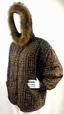 GREG BELL Reptile Snake Print Genuine Fox Fur Trim BEAUTIFUL Jacket Coat Sz M