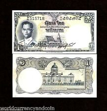 THAILAND 1 BAHT P74 1955 KING BHUMIBOL UNC RARE SIGN 37 DE LA RUE MONEY BANKNOTE
