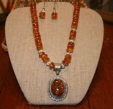 Navajo Artist:  Jon Mc Cray Amber Necklace w/Pendant & Earrings