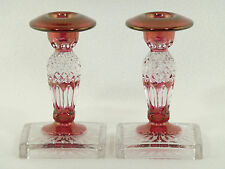 Westmoreland Wakefield RUBY FLASH CANDLE STICK HOLDERS - Pair