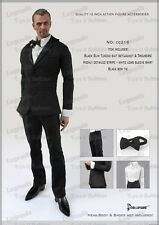 *Brand New* Dollsfigure 1:6 Black Slim Tuxedo w/ Black Bow Tie *US Seller*