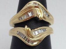 14K YELLOW GOLD BAGUETTE DIAMOND RING GUARD, WRAP, ENHANCER