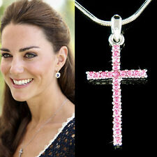w Swarovski Crystal ~Pink CROSS God Lord Jesus Christ Religious Jewelry Necklace