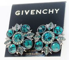 GIVENCHY Swarovski Emerald Hued Crystal Hematite-Tone Clip Button Earrings
