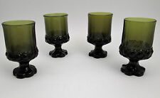 4 Franciscan Madeira pattern Olive green wine or juice glasses mod goblets