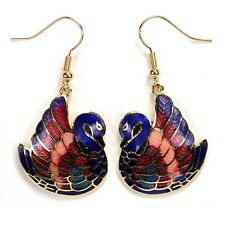 GOLD PLATED CLOISONNE SWAN EARRINGS Blue Love Birds Enamel Hand Painted Pair NEW