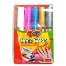 DONG-A TORU Deco Color Nail Art Fun Decoration Soft Marker Pens - 5 Colors