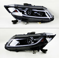 Honda Civic 2012-2015 Glossy Black Projector LED Light Bar DRL Headlights Pair