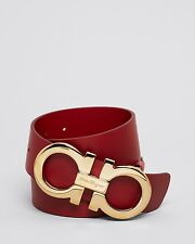 $470 SALVATORE FERRAGAMO MENS OVERSIZED GOLD GANCINI RED LEATHER BELT ITALY 34