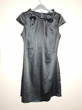 KDK London Grey Satin Dress Size 10 Office Party Clubbing Christmas
