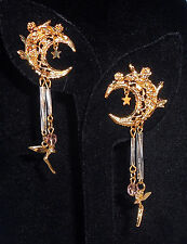 KIRKS FOLLY Moon Glow Fairy Crescent Moon Dangle Goldtone Earrings