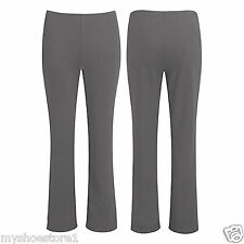 LADIES PACK OF 2 BOOTLEG TROUSERS WOMEN STRETCH SOFT RIBBED PULL ON BOTTOM PANTS