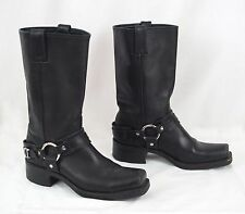 Frye Leather Motorcycle Boots 77250 Belted Harness Women's Size 9 M Black