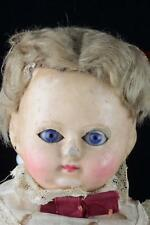 """Antique 16"""" Wax On Composition Shoulder Head Doll Compo Body+Sleep Eyes - French"""