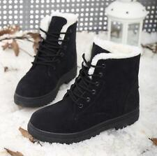 2016 New Casual Womens Winter Warm Faux Suede Fur Lace-up Snow Ankle Boots Shoes