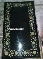 4'x2' Black Marble Dining Table Floral Mosaic Inlay Arts Living Home Decor H3225