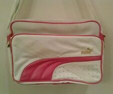 PUMA Overnight Travel Tote Bag White and Pink Gold Hardware Adjustable Strap