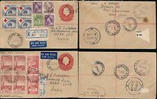 AUSTRALIA POSTAL STATIONERY AIRMAIL REGISTERED 1954 FDCs to AGRA INDIA...2 ITEMS