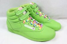 REEBOK Freestyle Reign-bow Hot Lime Green Hi Top Rainbow Sneaker Shoes Women 7