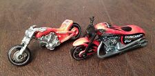 HTF HOT WHEELS SET OF 2 DIFFERENT CUSTOM MOTORCYCLE CHOPPER DIECASTS RARE