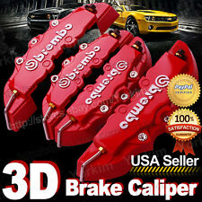 3D Red Brembo Style Universal Disc Brake Caliper Cover 4pcs Front & Rear UPT10