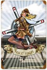 Lethal Threat Pin Up Girl Military Mile High Metal Sign Man Cave Garage LETH08