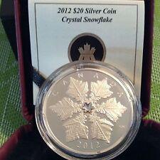 Canada 2012 $20 1oz Fine Silver Coin - CRYSTAL SNOWFLAKE - Swarovski Crystal RCM