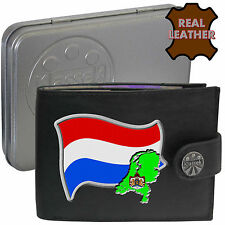 NETHERLANDS Mens Leather Wallet DUTCH Flag map and Emblem Mans gift Holland Tin