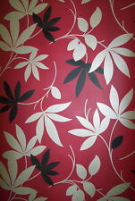 RED, BLACK AND CHAMPAGNE METALLIC LEAF WALLPAPER # 234