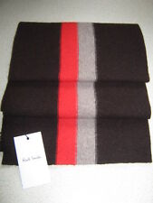 Luxury Designer Paul Smith Red & Beige Striped Brown Wool College Scarf - New