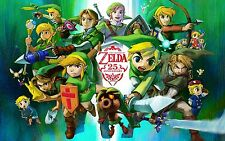 THE LEGEND OF ZELDA. 25TH ANNIVERSARY. LINK. 1 FREE GRATUIT. PRINT POSTER A3.