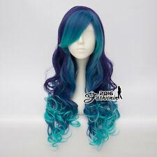 65CM Blue Mixed Purple Ombre Long Lolita Curly Women Party Synthetic Cosplay Wig