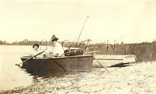 Org 1910s-30s Sepia Real Photo- Boat- Woman- Man- Fishing- Bamboo Pole- Army Hat