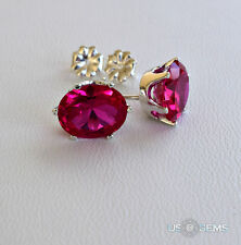 925 Sterling Silver 10x8 mm Oval created Ruby Rose Stud Earrings. US@GEMS