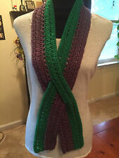 Handmade Crochet Scarf Purple & Green Awareness Ribbon Scarf, Anal Cancer