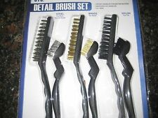 6 pc Detail Wire Brush Set (Nylon, Brass, Steel) New In Package