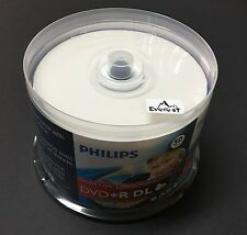 50 PHILIPS 8X DVD+R DL Dual Double Layer 8.5GB White Inkjet Printable Spindle