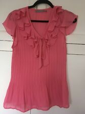 Gorgeous Ladies Chiffon Ruffled Neck Top Size L N Y Collection