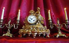 Antique 19th  Victorian French Empire Mantle Clock Set 2 Candelabra /Key