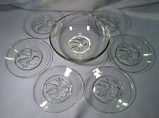 """Vintage Imperial Glass  """"Intaglio"""" Luncheon Set.. Salad Bowl & 6 Luncheon Plates"""