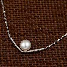 8 m White Freshwater Pearl CZ Pendant Necklace 925 Sterling Silver 08742 New