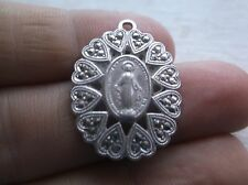 Antique Catholic Religious Medal - MIRACULOUS - HEARTS Marcasite - STERLING OLD