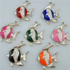 14075 7PCS Enamel Multi-color Gold Fish Pendant Charms Jewelry Making