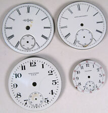 4 VINTAGE POCKET WATCH PORCELAIN DIAL FACE PART WALTHAM ELGIN ILLINOIS