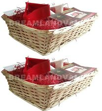 2 X MAKE YOUR OWN HAMPER WICKER BASKET RED WOOD WOOL BOW XMAS BIRTHDAY GIFT SET