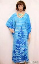 PLUS SIZE TIE DYE PALM TREE PRINT KAFTAN MAXI DRESS BLUE 18 20 22 24 26 28 30 32