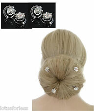 Bridal Hair Pins Spirals Grips Flower with AB and Clear Diamante x 4 Buns Up Dos