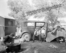 Photograph Vintage California Migrant Workers Car  Camping 1936   8x10