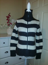 XX by MEXX ZIPPER FRONT KNIT SWEATER /JACKET STRIPED WHITE/GRAY WOOL BLAND Sz.M